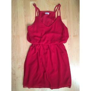Tobi cinched red dress